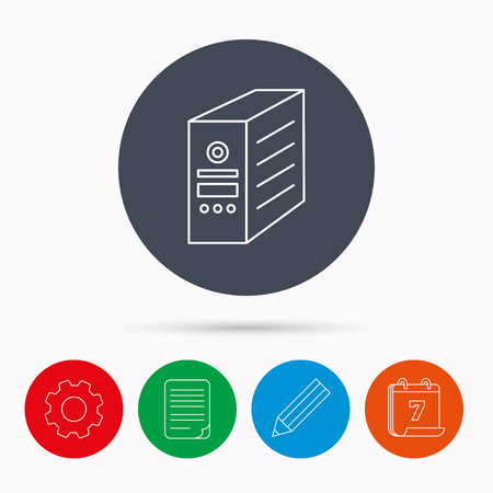 pc case: Computer server icon. PC case or tower sign. Calendar, cogwheel, document file and pencil icons. Illustration
