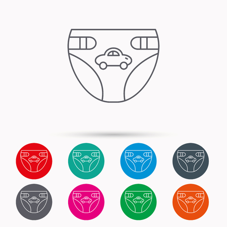 incontinence: Diaper with car icon. Child underwear sign. Newborn protection symbol. Linear icons in circles on white background.