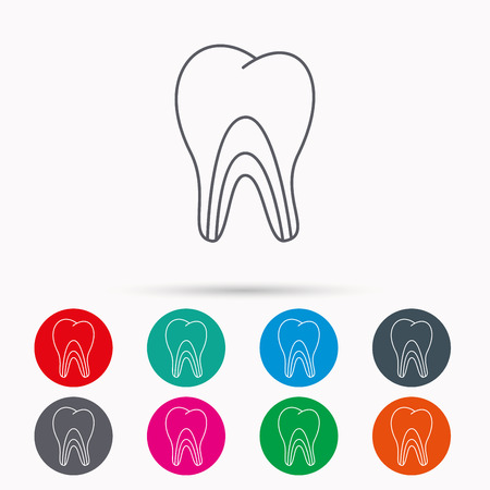 pulpitis: Dentinal tubules icon. Tooth medicine sign. Linear icons in circles on white background.