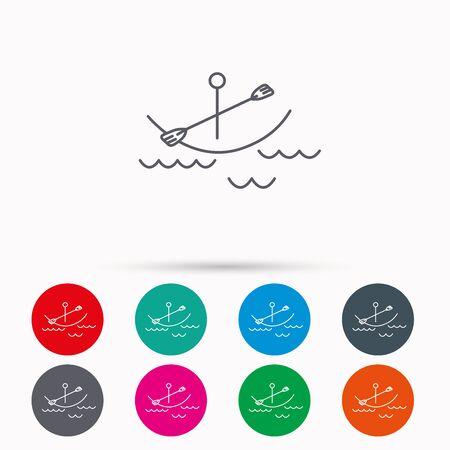 black white kayak: Kayaking on waves icon. Boating or rafting sign. Canoeing extreme sport symbol. Linear icons in circles on white background. Illustration