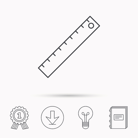 straightedge: Ruler icon. Straightedge sign. Geometric symbol. Download arrow, lamp, learn book and award medal icons.