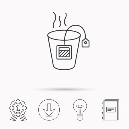 tea lamp: Tea bag icon. Natural hot drink sign. Breakfast beverage symbol. Download arrow, lamp, learn book and award medal icons.