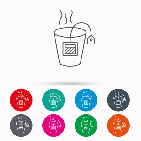 stimulant: Tea bag icon. Natural hot drink sign. Breakfast beverage symbol. Linear icons in circles on white background. Illustration