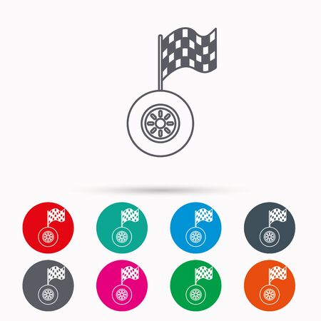racing sign: Race icon. Wheel with racing flag sign. Linear icons in circles on white background.