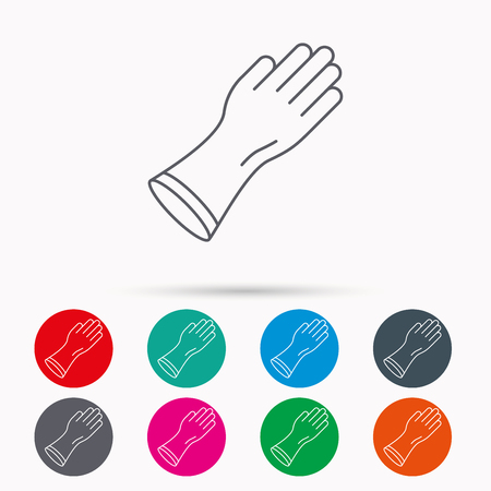 latex glove: Rubber gloves icon. Latex hand protection sign. Housework cleaning equipment symbol. Linear icons in circles on white background.