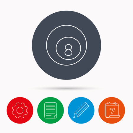 cue sports: Billiard ball icon. Pool or snooker equipment sign. Cue sports symbol. Calendar, cogwheel, document file and pencil icons.