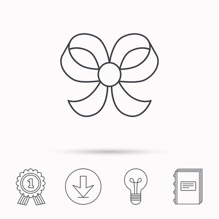 bowknot: Bow icon. Gift bow-knot sign. Download arrow, lamp, learn book and award medal icons.