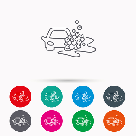 operated: Car wash icon. Cleaning station sign. Foam bubbles symbol. Linear icons in circles on white background.