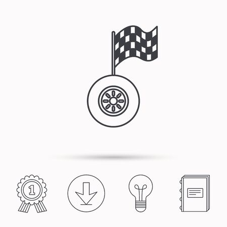 racing sign: Race icon. Wheel with racing flag sign. Download arrow, lamp, learn book and award medal icons. Illustration