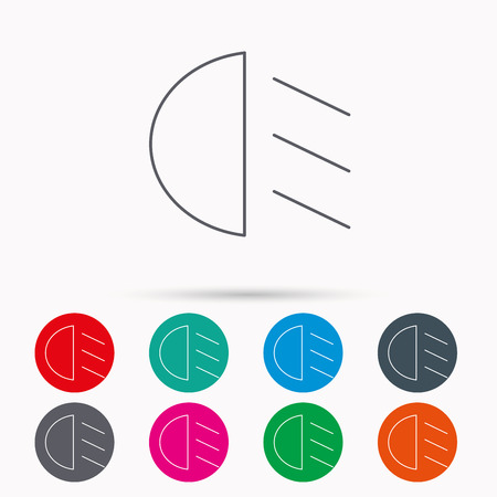 dipped: Passing light icon. Dipped beam sign. Linear icons in circles on white background. Illustration