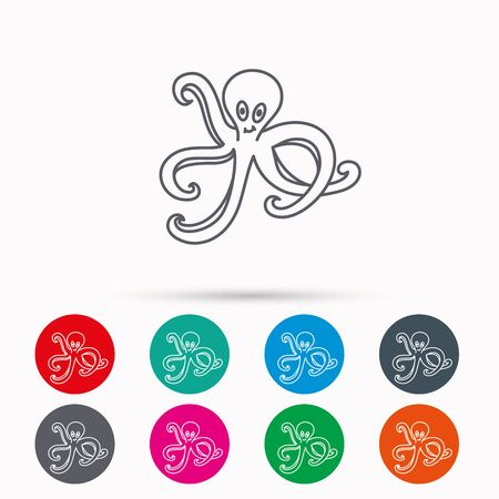 devilfish: Octopus icon. Ocean devilfish sign. Linear icons in circles on white background. Illustration