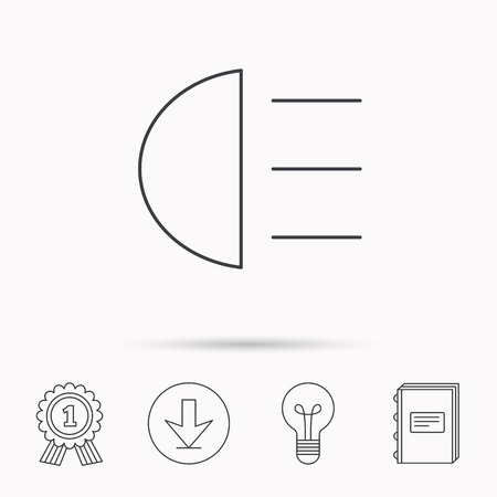 high beams: High beams icon. Distant light car sign. Download arrow, lamp, learn book and award medal icons. Illustration