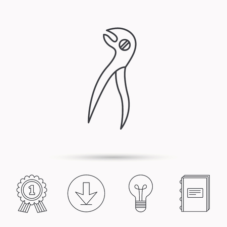 stomatological: Dental pliers icon. Stomatological forceps tool sign. Download arrow, lamp, learn book and award medal icons. Illustration