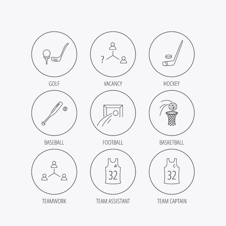 edge of the ice: Football, ice hockey and baseball icons. Basketball, team assistant and captain linear signs. Teamwork, vacancy and golf icons. Linear colored in circle edge icons.