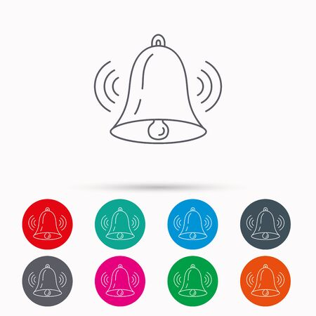 handbell: Ringing bell icon. Sound sign. Alarm handbell symbol. Linear icons in circles on white background.