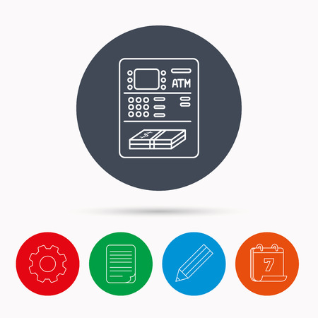 withdraw: ATM icon. Automatic cash withdrawal sign. Calendar, cogwheel, document file and pencil icons. Illustration