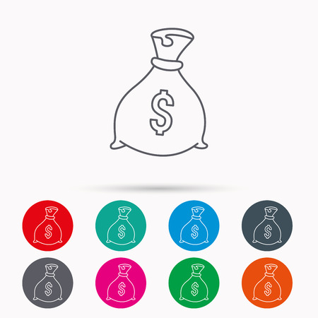 burlap sack: Sack with dollars icon. Money bag sign. Banking symbol. Linear icons in circles on white background. Illustration
