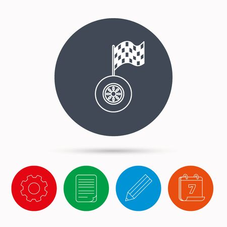 racing sign: Race icon. Wheel with racing flag sign. Calendar, cogwheel, document file and pencil icons.