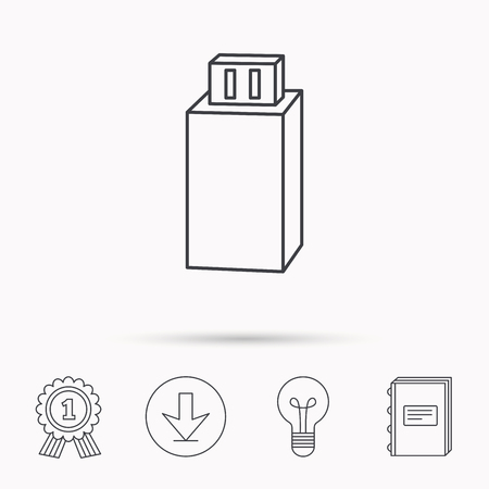 usb drive: USB drive icon. Flash stick sign. Mobile data storage symbol. Download arrow, lamp, learn book and award medal icons. Illustration