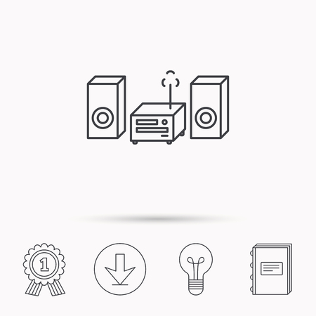 cd recorder: Music center icon. Stereo system sign. Download arrow, lamp, learn book and award medal icons.