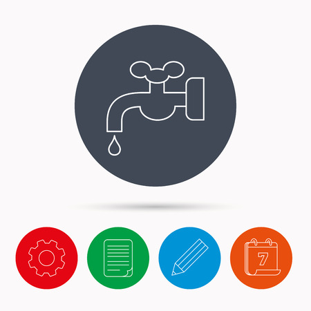 waterworks: Water supply icon. Crane or Faucet with drop sign. Calendar, cogwheel, document file and pencil icons.