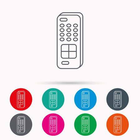 channels: Remote control icon. TV switching channels sign. Linear icons in circles on white background. Illustration
