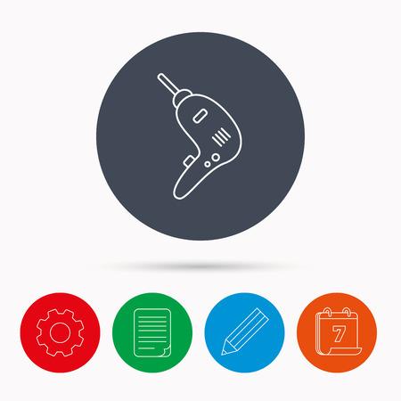 presslufthammer: Drill-Werkzeug-Symbol. Elektrischer Jack-Hammer-Zeichen. Kalender, Zahnrad-, Dokument-Datei und Bleistift-Icons.
