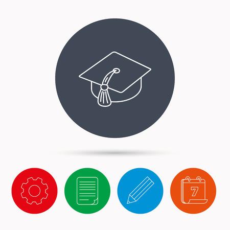 master degree: Graduation cap icon. Diploma ceremony sign. Calendar, cogwheel, document file and pencil icons. Illustration