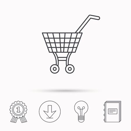 dealings: Shopping cart icon. Market buying sign. Download arrow, lamp, learn book and award medal icons.