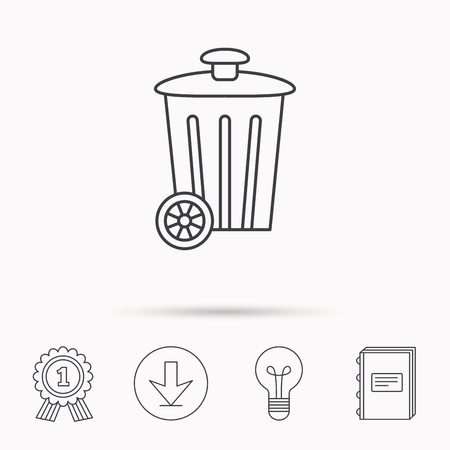 trash container: Recycle bin icon. Trash container sign. Street rubbish symbol. Download arrow, lamp, learn book and award medal icons.