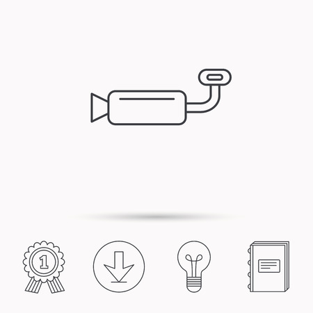 tailpipe: Muffer icon. Car fuel pipe or exhaust sign. Download arrow, lamp, learn book and award medal icons.