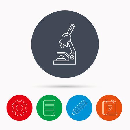 criminology: Microscope icon. Medical laboratory equipment sign. Pathology or scientific symbol. Calendar, cogwheel, document file and pencil icons.