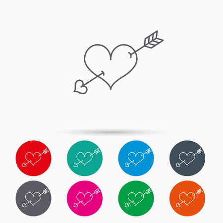 amour: Love heart icon. Amour arrow sign. Linear icons in circles on white background.