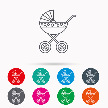 buggy: Pram icon. Newborn stroller sign. Child buggy transportation symbol. Linear icons in circles on white background. Illustration