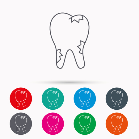 paradontosis: Caries icon. Tooth health sign. Linear icons in circles on white background.