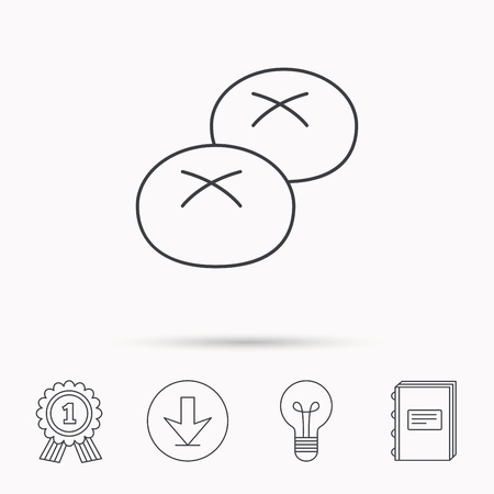 Bread rolls or buns icon. Natural food sign. Bakery symbol. Download arrow, lamp, learn book and award medal icons.