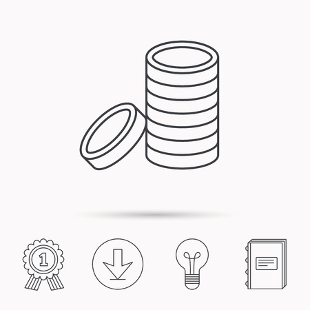 cash book: Coins icon. Cash money sign. Bank finance symbol. Download arrow, lamp, learn book and award medal icons. Illustration