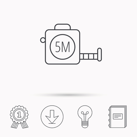 centimetre: Tape measurement icon. Roll ruler sign. Download arrow, lamp, learn book and award medal icons.