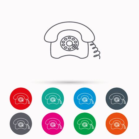 old telephone: Retro phone icon. Old telephone sign. Linear icons in circles on white background. Illustration