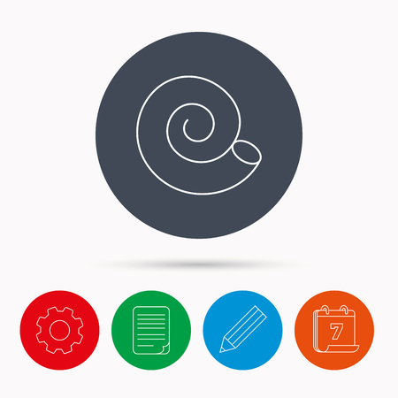 mollusk: Sea shell icon. Spiral seashell sign. Mollusk shell symbol. Calendar, cogwheel, document file and pencil icons.