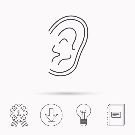 otorhinolaryngology: Ear icon. Hear or listen sign. Deaf human symbol. Download arrow, lamp, learn book and award medal icons. Illustration