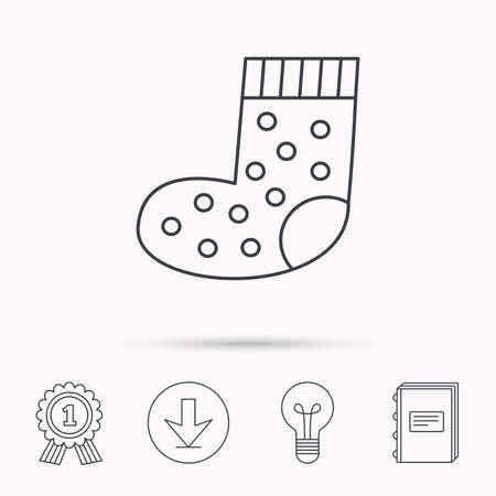 small size: Sock icon. Baby underwear sign. Clothes symbol. Download arrow, lamp, learn book and award medal icons. Illustration