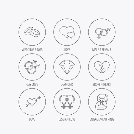 brilliant heart: Love heart, gift box and wedding ring icons. Broken heart and engagement brilliant linear signs. Valentine amour arrow, gay and lesbian flat line icons. Linear colored in circle edge icons.