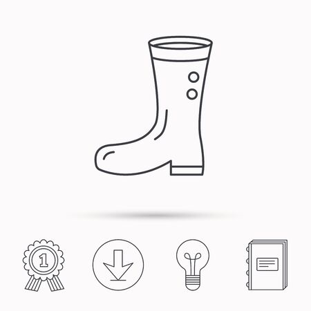 waterproof: Boots icon. Garden rubber shoes sign. Waterproof wear symbol. Download arrow, lamp, learn book and award medal icons. Illustration