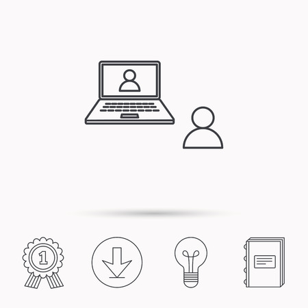 web conference: Video chat icon. Webcam chatting sign. Web conference symbol. Download arrow, lamp, learn book and award medal icons. Illustration