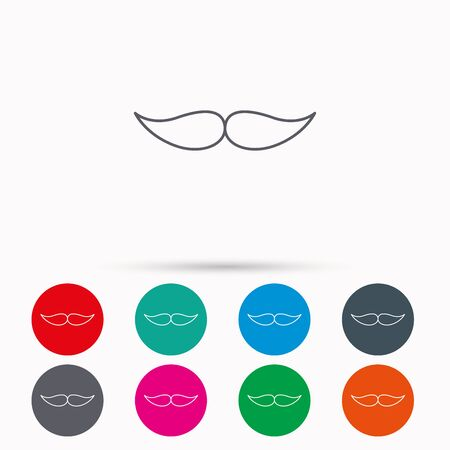 gent: Mustache icon. Hipster symbol. Gentleman sign. Linear icons in circles on white background.