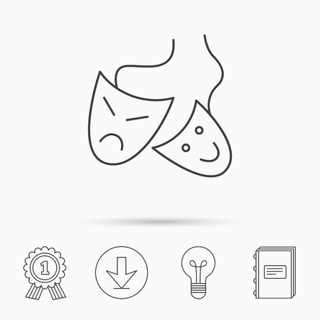 mascaras de teatro: Theater masks icon. Drama and comedy sign. Masquerade or carnival symbol. Download arrow, lamp, learn book and award medal icons.