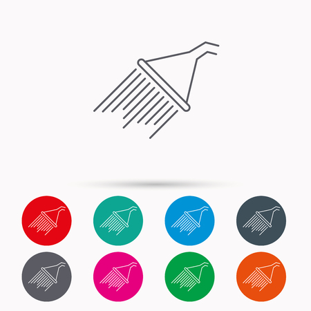 Shower icon. Washing equipment sign. Linear icons in circles on white background.