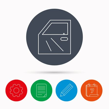 bodywork: Car door icon. Automobile lock sign. Calendar, cogwheel, document file and pencil icons.