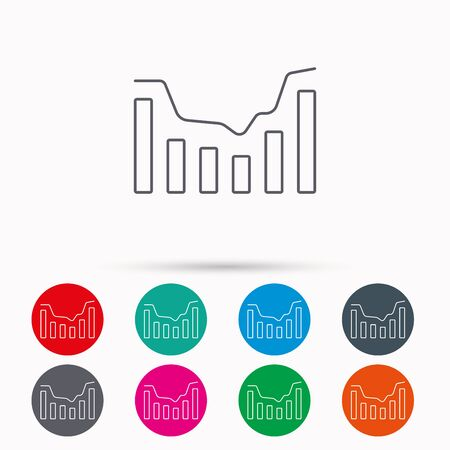 infochart: Dynamics icon. Statistic chart sign. Growth infochart symbol. Linear icons in circles on white background.